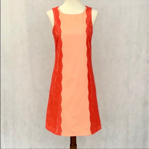 Gianni Bini Dresses & Skirts - Gianni Bini Sleeveless Peach & Orange Lace Dress